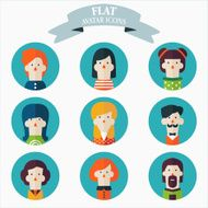 Set of flat people icons Male and female faces avatars N2
