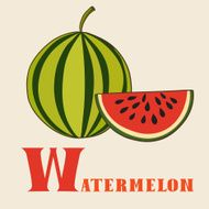 W for watermelon Vector Illustration hand-drawn style