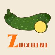 Z for zucchini Vector Illustration hand-drawn style