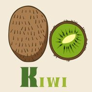 W for kiwi Vector Illustration hand-drawn style