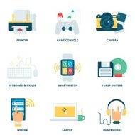 Modern devices vector icons set flat style