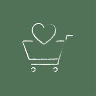 Shopping cart with heart icon drawn in chalk