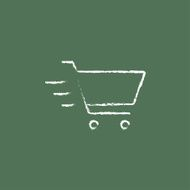 Shopping cart icon drawn in chalk