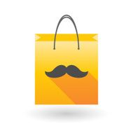 Yellow shopping bag icon with a moustache