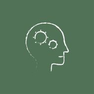 Human head with gear icon drawn in chalk