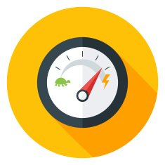 Slow and Fast Speedometer Flat Circle Icon with long Shadow