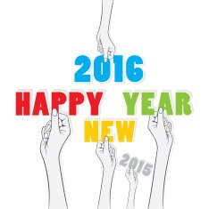 creative new year 2016 greeting card design