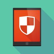 Tablet pc icon with a shield