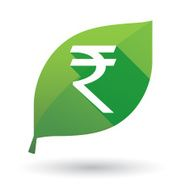 Green leaf icon with a rupee sign