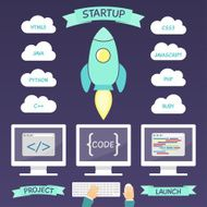 Startup project infographic elements