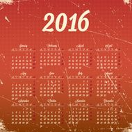 Calendar 2016 template design with header picture starts monday N45