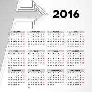 Calendar 2016 template design with header picture starts monday N46