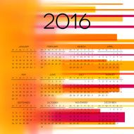 Calendar 2016 template design with header picture starts monday N52