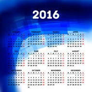 Calendar 2016 template design with header picture starts monday N53