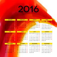 Calendar 2016 template design with header picture starts monday N55
