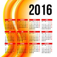 Calendar 2016 template design with header picture starts monday N57