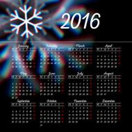 Calendar 2016 template design with header picture starts monday N64
