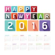 2016 Calendar colorful happy new year vector design