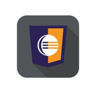 vector web development shield sign - code editor isolated icon