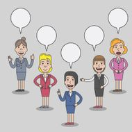 Set of business women character with speech bubbles