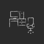 Computer set with table and chair icon drawn in chalk