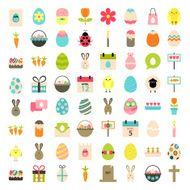 Easter big flat styled icons set over white