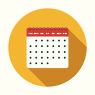 Flat Design Calendar Icon With Long Shadow