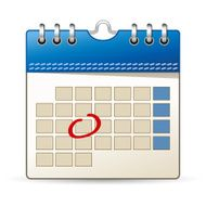 Calendar icon with day marking on white background