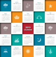 Weather icon with 2015 calendar template weather icon Vector illustration