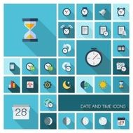 Date and time pictograms in graphic illustration