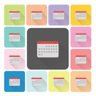 Calender Icon color set vector illustration