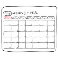 november 2015 planning calendar doodles hand drawn
