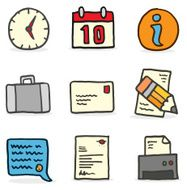 Hand drawn office icons