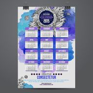 Calendar with watercolor paint 2015 design N2