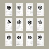 Calendar grid 2015 for your design ethnic ornament
