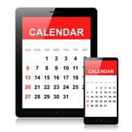 Calendar on mobile phone and tablet pc
