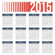 Simple european 2015 year vector calendar N6