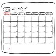 may 2015 planning calendar doodles hand drawn