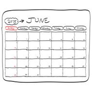 june 2015 planning calendar doodles hand drawn