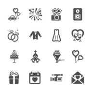 wedding icon set 4 vector eps10