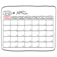 april 2015 planning calendar doodles hand drawn