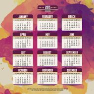 Calendar with watercolor paint 2015 design English Sunday star N2
