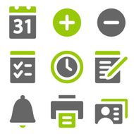 Organizer web icons green grey solid series