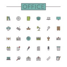 Vector Colored Office Line Icons