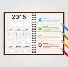 Infographics design template Open notebook with calendar and schedule