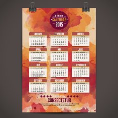 Calendar with watercolor paint 2015 design English Sunday star