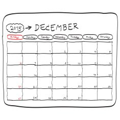 december 2015 planning calendar doodles hand drawn