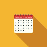 Flat Design Calendar Icon With Long Shadow N2