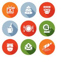 New year corporate Icons Set Vector Illustration
