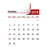 Vector simple calendar 2016 year october month